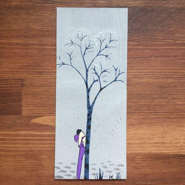 小林かいち 京都さくら井屋木版絵封筒 | 木に寄り添う女性 | 木版画・絵封筒・ぽち袋