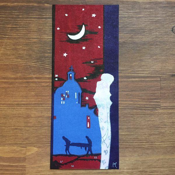 小林かいち 京都さくら井屋木版絵封筒 | 月夜に泣く女性 | 木版画・絵封筒・ぽち袋