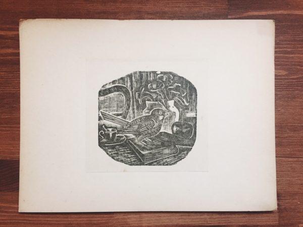 平塚運一 木口木版画:机上小禽 | 版画の家発刊「新らしい藝術 版画」より | 版画