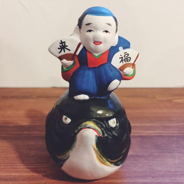 土鈴 河豚乗り福助・中ノ子勝美 | 古型博多人形土鈴 | 民芸・郷土人形
