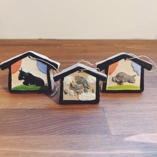 土鈴 干支絵馬3点セット・野田末吉 | 名古屋土人形 | 民芸・郷土人形