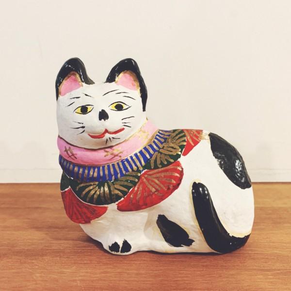 土人形 猫・岸川作 | 岡山県・久米土人形 | 民芸・郷土人形
