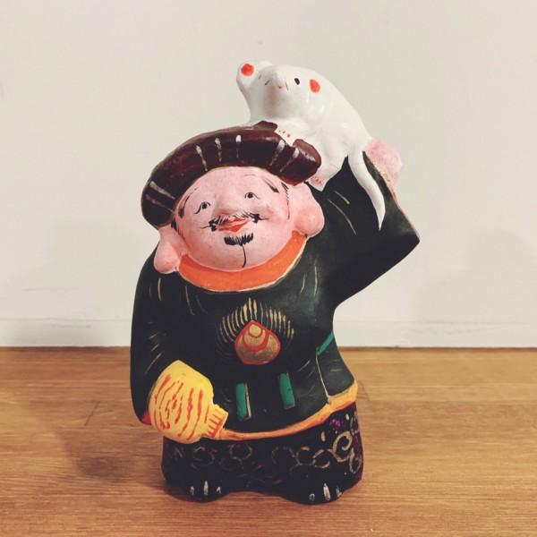 土人形 鼠担ぎ大黒 | 長野県・中野人形 | 民芸・郷土人形