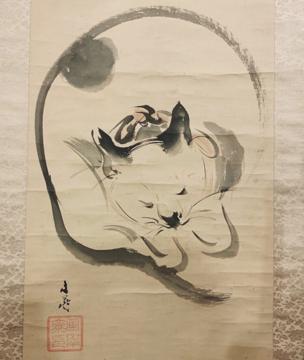 谷文晁の猫の掛け軸「睡猫胡蝶之図」入荷