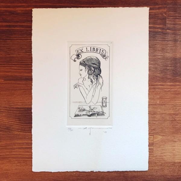 山本六三銅版画蔵書票 バラと少女 | 版画・蔵書票・EX-LIBRIS