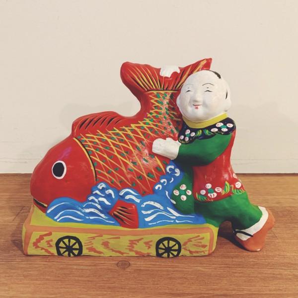 土人形 鯛車と唐子・孝洞作 | 岩手県遠野市・附馬牛人形 | 民芸・郷土人形