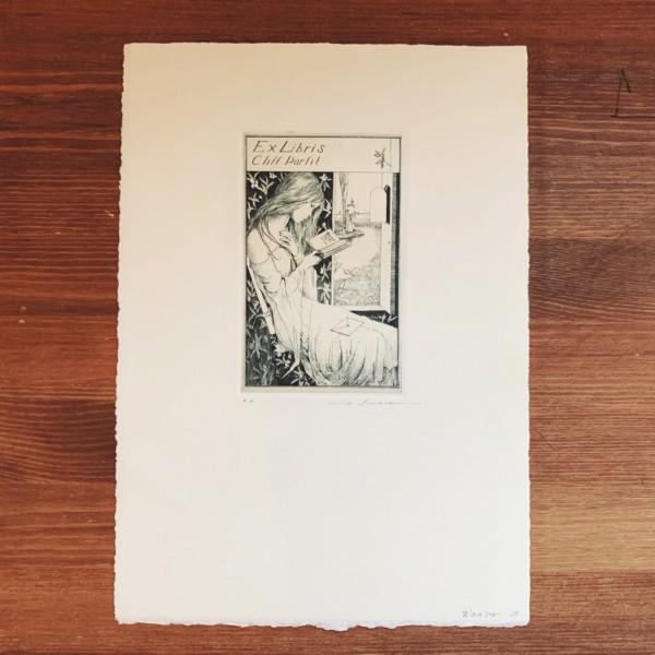 アルフォンス・イノウエ 銅版画蔵書票「窓辺の少女Ⅱ」入荷いたしました