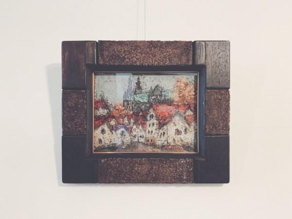 坂野昭文油彩作品「シャルトルの教会」 | 美術・絵画