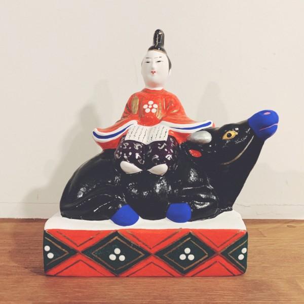 牛のおもちゃ 三次人形『寝牛乗り天神』 | 広島県三次市 | 郷土玩具・土人形