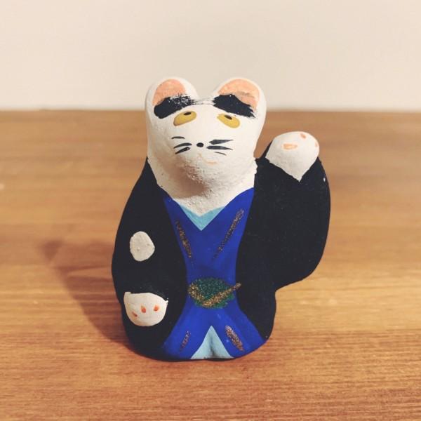 堺湊焼 初辰猫・羽織 | 大阪府堺市 | 郷土玩具・土人形