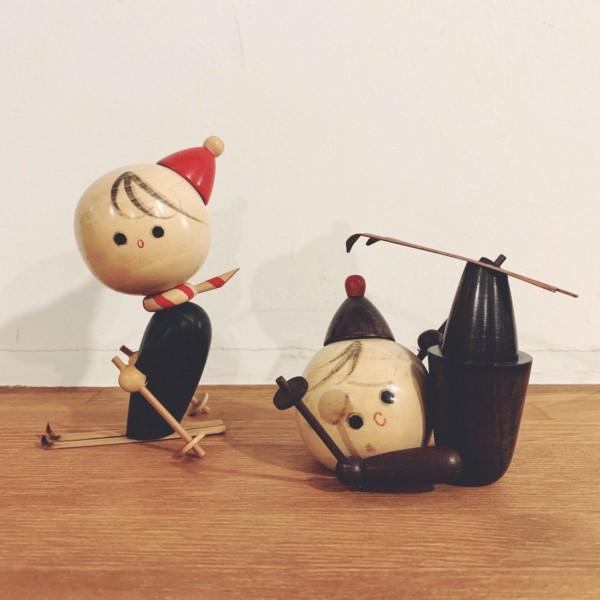 木のおもちゃ スキーですってんころりん 2体セット | 創作こけし・木製玩具・昭和レトロ