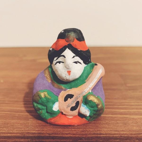 下総玩具 土人形『弁財天』 | 千葉県・松本節太郎作 | 土人形・民芸・郷土玩具