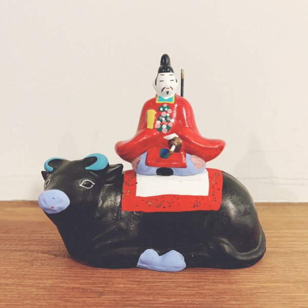 牛のおもちゃ 津山土人形『牛乗天神』 | 妹尾衆楽作・岡山県津山市 | 郷土玩具・津山土鈴・土人形