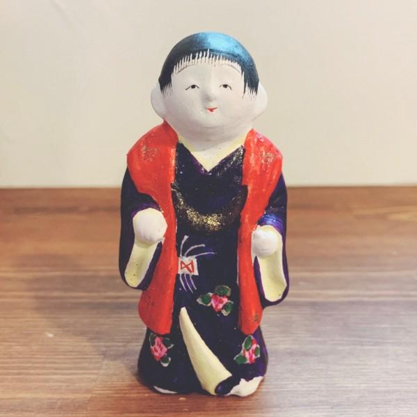 中野土人形『饅頭喰い』 | 奈良久雄作・長野県中野市 | 郷土玩具・土人形
