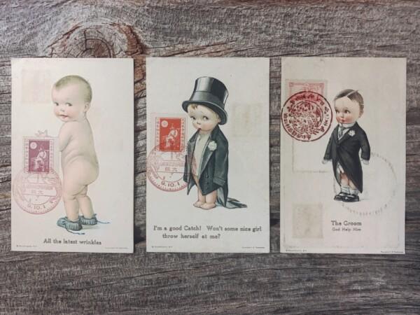 戦前の絵葉書 チャールズ・トゥエルブトゥリーズ C.H.Twelvetreesの赤ちゃんの絵葉書3枚セット【明治神宮鎮座記念切手+押印 / 第1回国勢調査記念切手+押印】貼付 | 1920年(大正9年)・Edward Gross co.発行 | アンティーク絵葉書・記念切手・イラストレーション