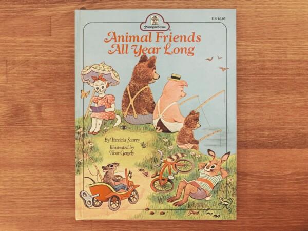 アメリカのヴィンテージ絵本 Animal Friends All Year Long | 絵:ティボール・ゲルゲイ Tibor Gergely / 文:パトリシア・スキャリー Patricia Scarry | 1969年初版・Merrigold Press | 絵本・イラストレーション
